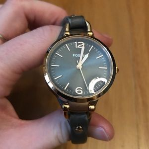 Fossil Watch rose gold and dark grey like new